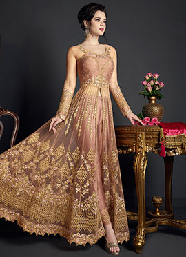 Dark Mauve Embroidered Abaya Style Anarkali Suit
