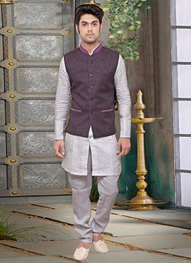 Dark Mauve Jute Nehru Jacket