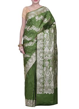 Dark Mehendi Green Handloom Silk Saree