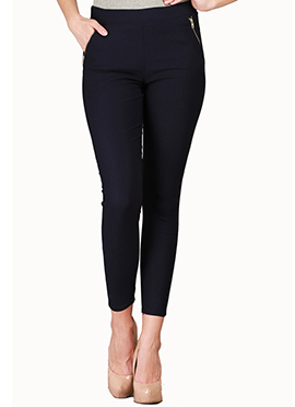 Dark Navy Blue Lycra Cotton Straight Pant