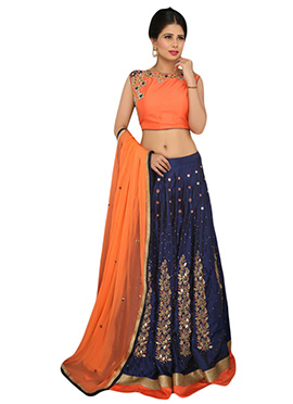Dark Navy Blue Silk A Line Lehenga Choli