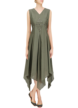 Dark Olive Green Art Silk Dress
