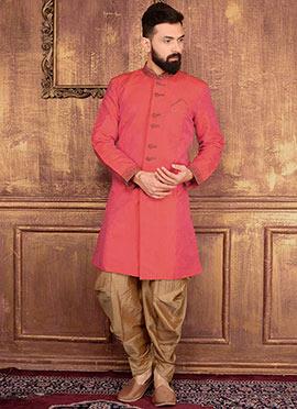 Dark Orange Art Benarasi Silk Indowestern Sherwani