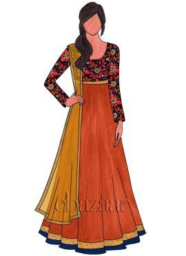 Dark Orange Art Raw Silk Embroidered Abaya Suit