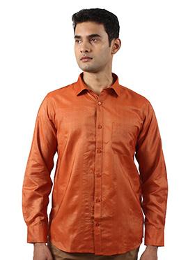 Dark Orange Art Silk Shirt