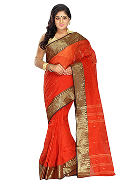 Dark Orange Blended Cotton Tangail Saree