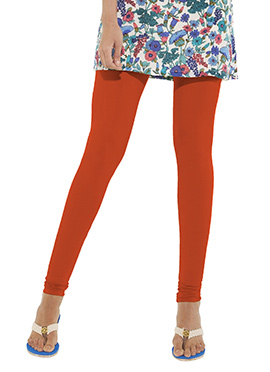 Go Colors Dark Orange Cotton Churidar Bottom