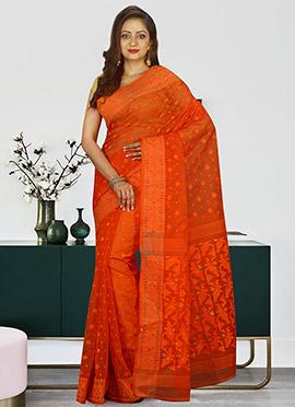 Dark Orange Cotton Silk Jamdani Saree