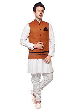 Dark Orange Linen Plus Size Bandhgala Jacket
