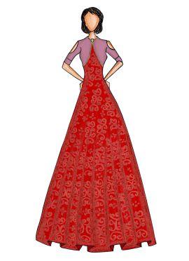 Dark Orange Makhmali Satin Gown with Ballet Pink Jacket