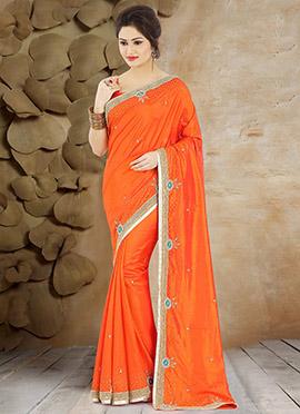 Dark Orange Pure Handloom Silk Saree
