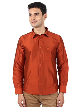 Dark Orange Pure Raw Silk Shirt