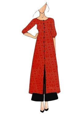 Dark Orange Straight Kurthi Palazzo Suit