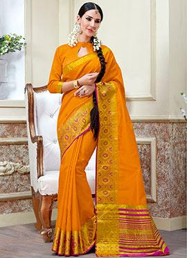 Dark Orange Tussar Silk Saree