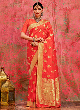 Dark Peach Art Benarasi Silk Saree