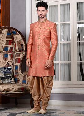 Dark Peach Art Silk Indowestern Sherwani