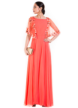 Dark Peach Georgette Dress