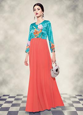 Dark Peach N Blue Digital Printed Anarkali Gown