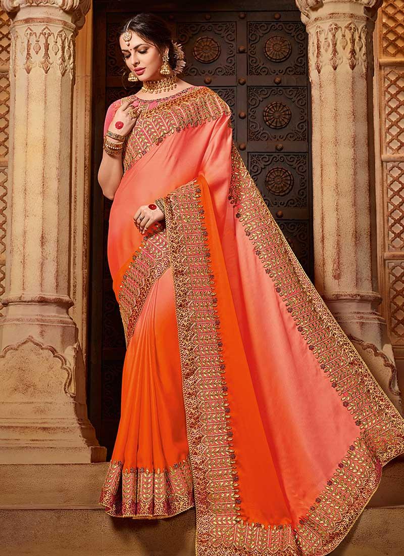 bfcb31754e Buy Dark Peach N Orange Embroidered Saree, Embroidered, sari ...