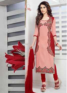 Dark Peach N Red Cambric Cotton Straight Suit