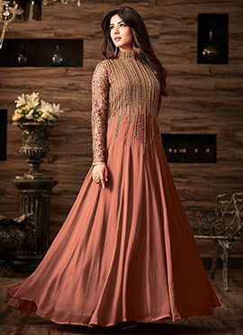 Dark Peach Net Abaya Style Anarkali Suit