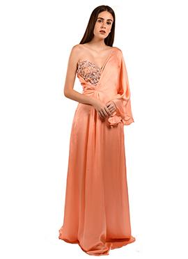 Dark Peach One Shoulder Gown