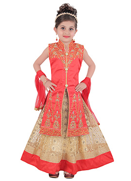 Dark Peach Teens Long Choli Lehenga