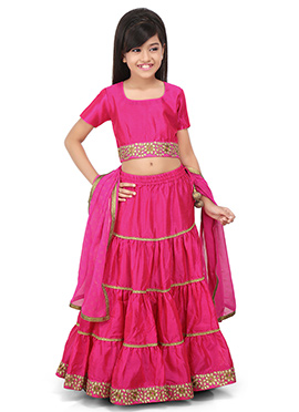 Dark Pink A Line Kids Lehenga Choli