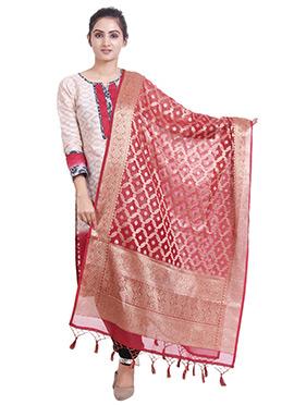 Dark Pink Art Benarasi Silk Dupatta