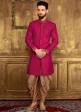 Dark Pink Art Benarasi Silk Indowestern Sherwani