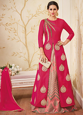 Dark Pink Art Silk A Line Lehenga