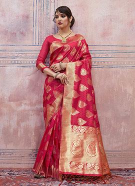 Dark Pink Art Silk Saree