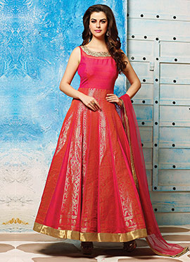 Dark Pink Benarasi Brocade Silk Ankle Length Anarkali Suit