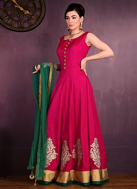 Dark Pink Bhagalpuri Silk Anarkali Suit