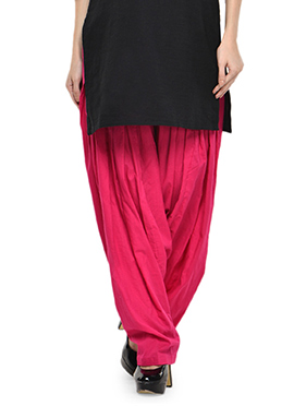 Dark Pink Blended Cotton Patiala Pant