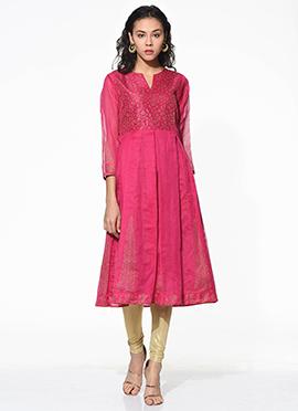Dark Pink Chanderi Blended Cotton Flared Kurti