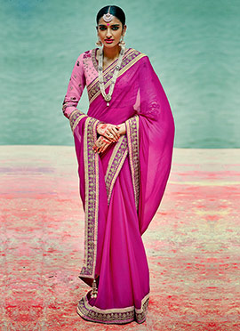 Dark Pink Chiffon Border Saree