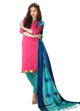 Dark Pink Cotton Churidar Suit