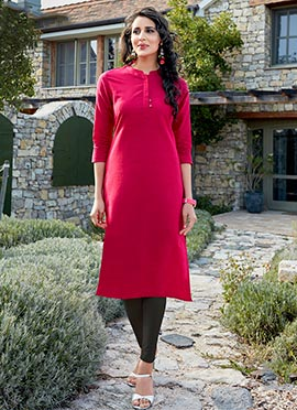 Dark Pink Cotton Kurti