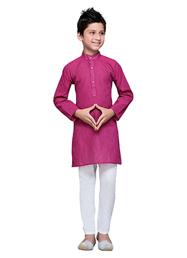 Dark Pink Cotton Striped Boys Kurta Pyjama