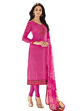Dark Pink Crepe Straight Suit