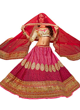 Dark Pink Embroidered A Line Lehenga Choli