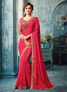 Dark Pink Embroidered Border Saree