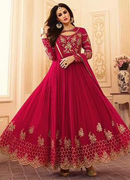 Dark Pink Georgette Abaya Style Anarkali Suit