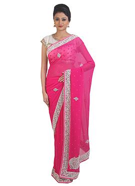 Dark Pink Georgette Handwork Saree
