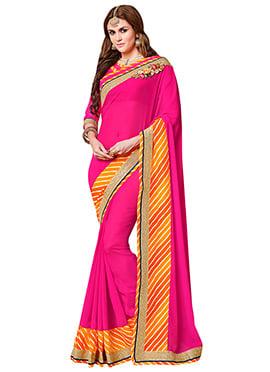 Dark Pink Georgette Leheriya Printed Saree
