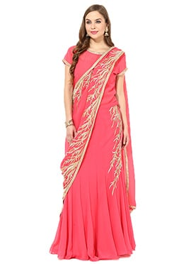 Pink Georgette Long Choli Lehenga