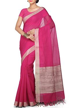 Dark Pink Ghicha Woven Cotton Saree
