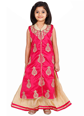 Dark Pink kids Long Choli Lehenga