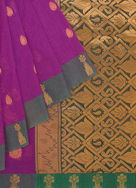 Dark Pink N Green Art Silk Cotton Saree